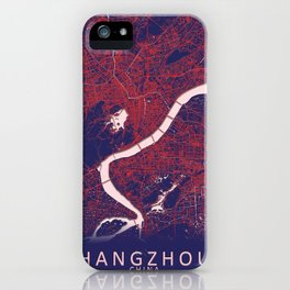 Hangzhou, China, Blue, White, City, Map iPhone Case