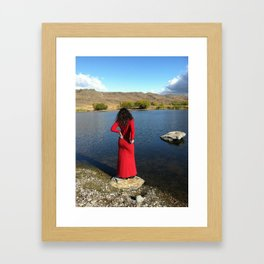 Lady in Red by the Lake Framed Art Print