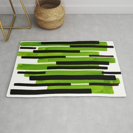 Lime Green Primitive Stripes Mid Century Modern Minimalist Watercolor Gouache Painting Colorful Stri Rug