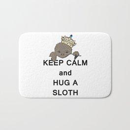 Keep Calm and Hug a Sloth with Crown Meme Bath Mat