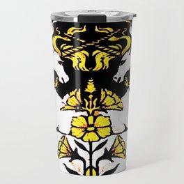 TWO UNICORNS & FLOWERS IN BLACK-GOLD ART Travel Mug