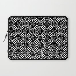 Wavy Black and White Pinwheel and Stripes Illustration - Digital Artwork Laptop Sleeve