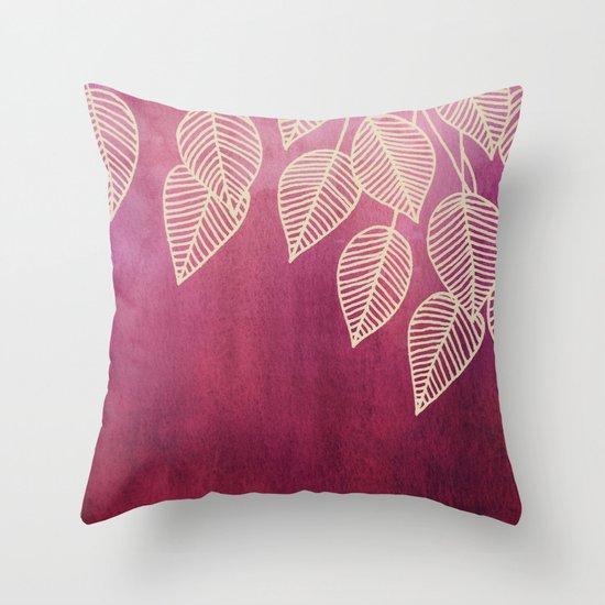 Magenta Garden - watercolor & ink leaves Throw Pillow