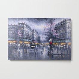 City of Lights, Eiffel Tower, Twilight Paris, France Street Scene landscape painting Metal Print