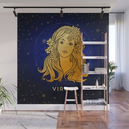 Zodiac golden sign — Virgo Wall Mural