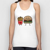 french fries Tank Tops featuring Happy Cheeseburger and French Fries by Berenice Limon