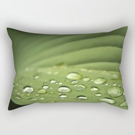 Water drops on a green leaf Rectangular Pillow
