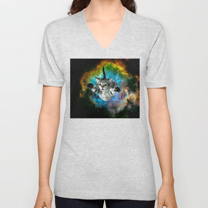 Galaxy Cat Universe Kitten Launch                                                 Unisex V-Neck