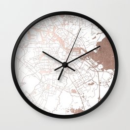 Amsterdam White on Rosegold Street Map Wall Clock