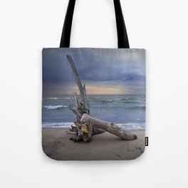 Sunrise on the Beach with Driftwood at Oscoda Michigan Tote Bag