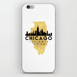 CHICAGO ILLINOIS SILHOUETTE SKYLINE MAP ART iPhone Skin