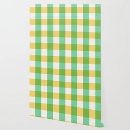 mint yellow plaid Wallpaper