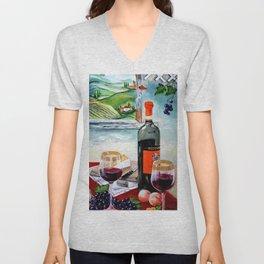 The Wine Painting Unisex V-Neck