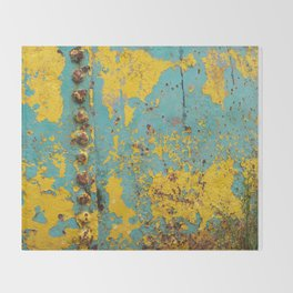 yellow and blue worn paint and rust texture Throw Blanket