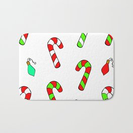 Christmas Lights and Candy Canes Bath Mat