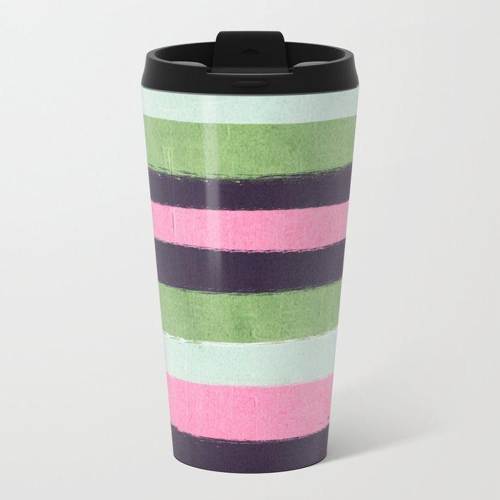 Stripes minimal striped pattern basic nursery gender neutral decor Metal Travel Mug