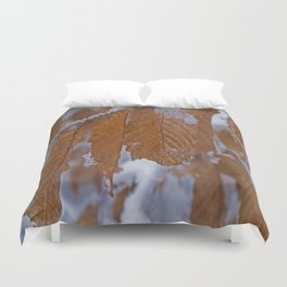 snow and leaves Duvet Cover