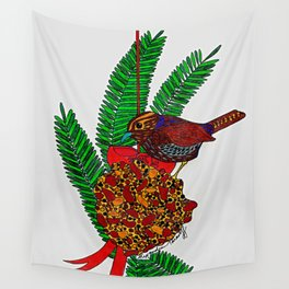 Little Bird In Evergreen Boughs Wall Tapestry