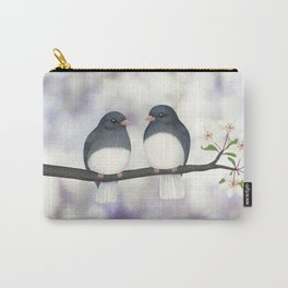 dark eyed juncos (bokeh and blossoms) Carry-All Pouch