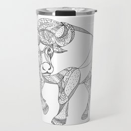 African Buffalo Charging Doodle Travel Mug