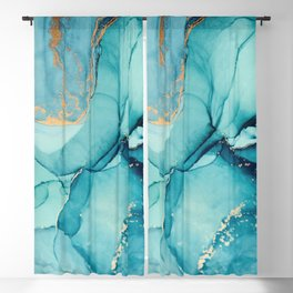 Abstract Turquoise Art Print By LandSartprints Blackout Curtain