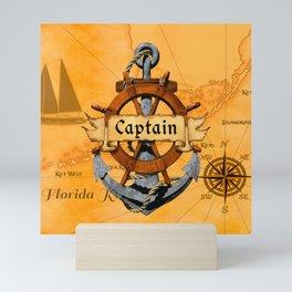 Captain Anchor And Ship Helm Mini Art Print