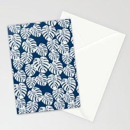 Monstera leaf tropical pattern minimal botanical design by andrea lauren Stationery Cards