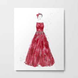 Fashion illustration red long gown Metal Print