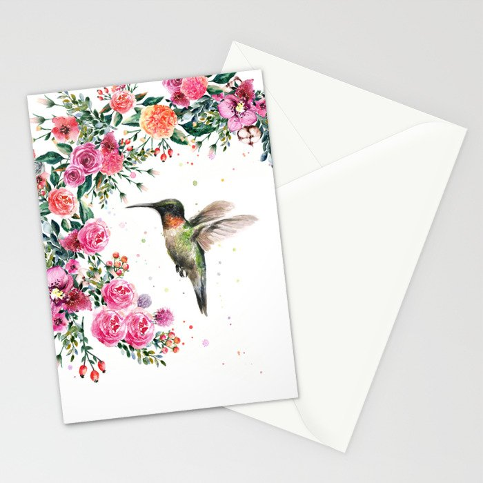 Hummingbird and Flowers Watercolor Animals Stationery Cards