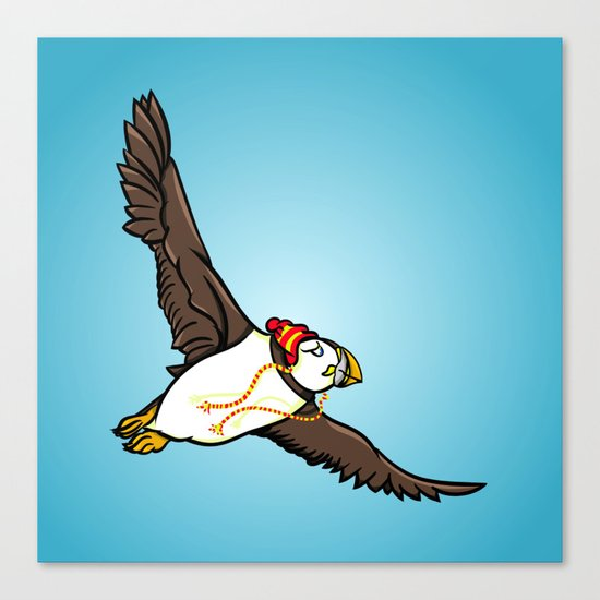 Puffin Wearing A Hat Canvas Print
