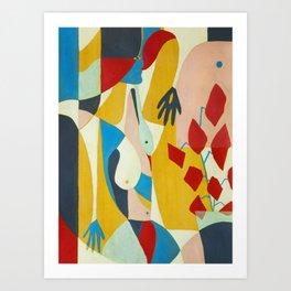 Mujer, flores y ventana Art Print