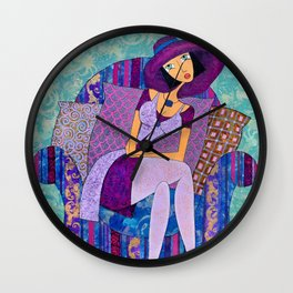 Girl in a Violet Hat  - Artist Vladimir Smahtin Wall Clock