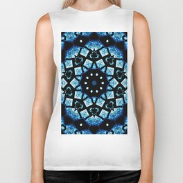 Blue Black Mosaic Kaleidoscope Mandala Biker Tank