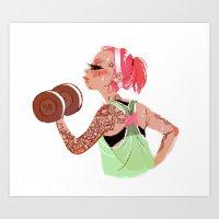 workout Art Prints featuring Workout Girl by TCFischer