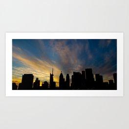 Skyline Silhouette Moody Wispy Clouds Art Print