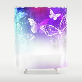 Bright Background with White Butterflies Shower Curtain