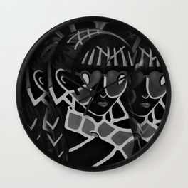 Girl from the Past by Lu, black-and-white Wall Clock