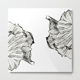 Abstract Linework - Twin Flowers Metal Print