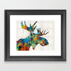 Colorful Moose Art - Confetti - By Sharon Cummings Framed Art Print