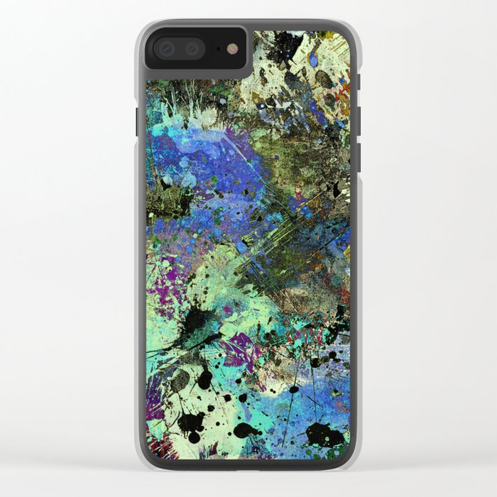Deep In Thought - Black, blue, purple, white, abstract, acrylic paint splatter artwork Clear iPhone Case