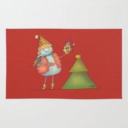 Friends keep warm - red Rug