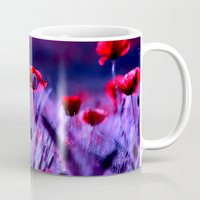 poppies Mugs featuring poppies by haroulita