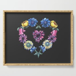 Lovely Flowers Black Serving Tray