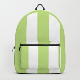Yellow-green (Crayola) - solid color - white vertical lines pattern Backpack