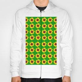 pattern yellow daisy on green background Hoody