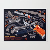 blade runner Canvas Prints featuring Blade Runner by Mike Wrobel