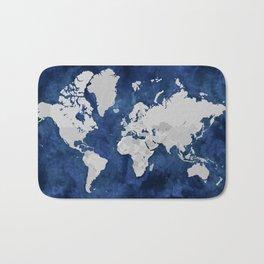 Dark blue watercolor and grey world map Bath Mat