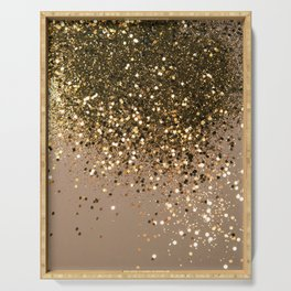 Sparkling Gold Brown Glitter Glam #1 (Faux Glitter) #shiny #decor #art #society6 Serving Tray