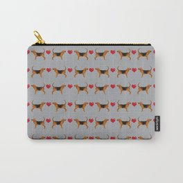 Bloodhound love hearts dog breed pet pattern hounds dog portrait Carry-All Pouch