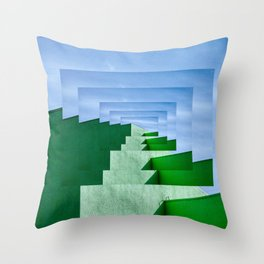 Minimalist  Flat Architectural perspective design - green and blue layers Throw Pillow